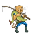 Cat fisherman Linear and colorful figure vector image