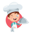 chef kid cooking vector image vector image