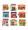 collection of shop buildings isolated on white vector image vector image