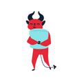devil cuddling pillow flat vector image vector image