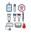 Diabetes Set of flat colored icons Glucometer vector image