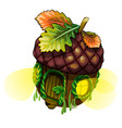 fairy house in form acorn with glowing windows vector image vector image