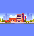 fire truck driving to station building with garage vector image