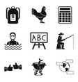 fishing at sea icons set simple style vector image vector image