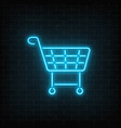 glowing neon supermarket shopping cart sign vector image vector image