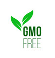 gmo free green leaf healthy food label icon vector image vector image