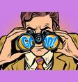 good businessman looking through binoculars vector image vector image