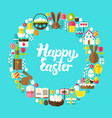 happy easter flat circle vector image