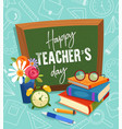 happy teachers day greeting card or poster vector image