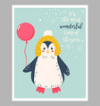 holiday card with cute penguin and balloon vector image vector image