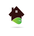 house with green leaf vector image vector image