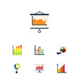 icon flat chart set of chart segment diagram and vector image vector image