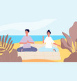 meditation on beach man woman morning relax mind vector image vector image