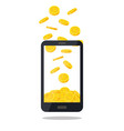 mobile telephone with gold coin pile isolated vector image vector image
