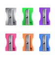 pencil sharpener bright colorful set for school vector image