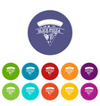 pizza slice icons set color vector image vector image