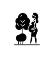 pregnant woman black icon sign on isolated vector image