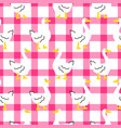 seamless pattern with a cute goose on checkered vector image vector image