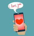 sending a love message from mobile phone vector image vector image