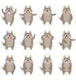 set flat wolf icons vector image vector image