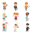 set of cartoon professions for kids smiling vector image vector image