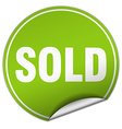 sold round green sticker isolated on white vector image vector image
