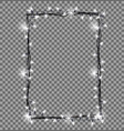 square frame made christmas lights sparkling vector image vector image