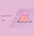 target customers with people and goals dart for vector image vector image