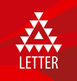 triangular logo letter A on a red background vector image vector image