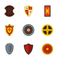 various knight shield icons set flat style vector image vector image
