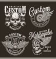 vintage monochrome custom motorcycle logos vector image vector image