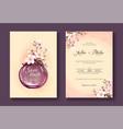 vintage sakura flowers wedding invitation card vector image vector image