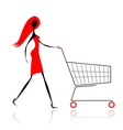 Woman with shopping cart for your design vector image vector image