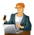 Young men with phone and laptop vector image vector image