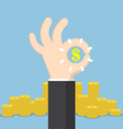 Businessman hand with ok and dollar sign vector image