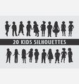 20 kids children silhouettes various design vector image vector image
