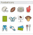 american football color icons set vector image