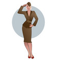 army girl in retro style wearing soldiers uniform vector image vector image