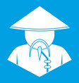 asian man in conical hat icon white vector image vector image