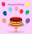 birthday cake with chocolate cream cherries and vector image