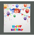 Birthday card design with colorful balloons vector image vector image