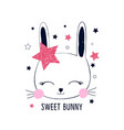 bunny t-shirt design with slogan vector image vector image