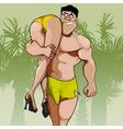 Cartoon big man carrying woman on shoulder vector image