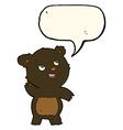 cartoon cute waving black bear teddy with speech vector image vector image