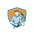 Construction Worker Holding Pickaxe Shield Cartoon vector image vector image