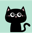 cute black cat kitty kitten smiling face icon vector image vector image