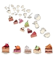 Different slises of cakes and dishes on white vector image