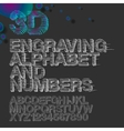 Engraving alphabet and numbers vintage gravure vector image