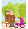 grandparents walking in sunny day vector image