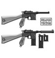 graphic black and white old pistol with ammo clip vector image vector image